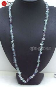 """7-8mm Baroque Purple Natural Fluorite Beads Long 33"""" Necklace for Women Jewelry"""