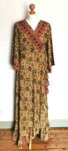 Green long multicolour silk wrap dress party 10 12 14 vintage Boho hippy new UK