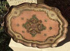 Vintage Mid Century Italian Florentine Gilt Oval Wood Tray Gold Gilt Pink