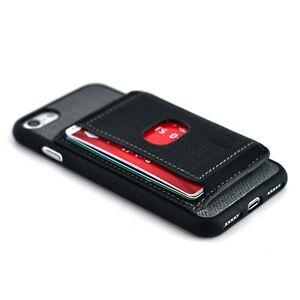 Dockem iPhone SE 2, 8, 7 Multiple Card Flap Wallet Case w/ Kickstand, Black/Grey