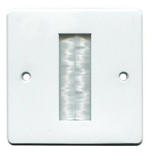Brush Faceplate for Cable Exit Wall Outlet Single 1 Gang Cable Tidy Plate White