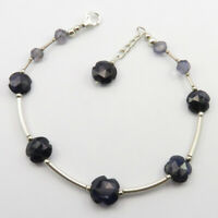 """925 Solid Sterling Silver IOLITE Beads Bracelet 8.5"""" Factory Direct Cyber Monday"""