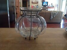 Crate And Barrel Glass And Wire Vase