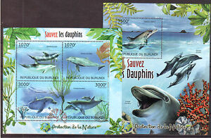BURUNDI 2012 Delfine Dolphins. Protection of nature M/S + S/S
