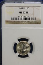 1943-D Ngc Ms67 Full Bells Mercury Dime! #B8829
