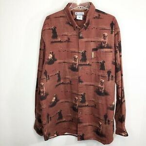 Columbia River Lodge Long Sleeve Button Up Dog Lab Ducks Outdoor Hunting 2XT