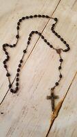 Vintage black rosary bead religion prayer