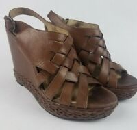 FRYE Corrina Strappy Wedge Sandals Shoes Heels Brown Leather Womens 9 M Open Toe