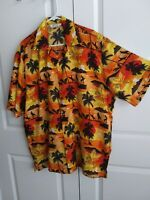 Alvish Men's Shirt Hawaiian Button Down XXL Orange and Black Surfers On Beach