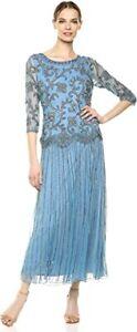 Pisarro Nights Women's Long Mock Two Piece Dress with Beaded Motif, Blue, 12