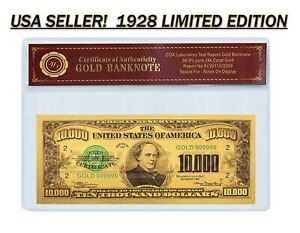 24K .999 GOLD 1928 $10,000 GOLD CERTIFICATE BANKNOTE W/ COA-CERT OF AUTHENTICITY