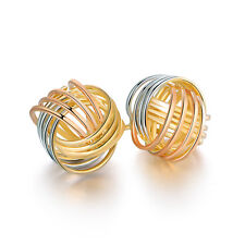18k Gold Plated Three Tone 4 Row Love Knot Stud Earrings