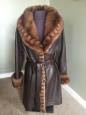 Leather Coat with Mink Collar, Cuffs and Trim. Made in Italy.