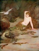 C.N. KENNEDY 1885 Oil Painting THE MERMAID Vintage Artwork 1930 Book Print