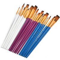6X Wooden Paint Brush Nylon Hair Oil Painting Watercolor Acrylic Drawing Art YK