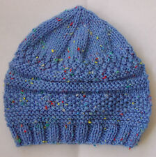 Hand knitted Baby Hat Sky Blue with Multicoloured fleck 3-6 months