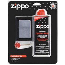Chrome Windproof Lighter Kit Fluid Flints Gift Set Pocket Classic Wick Smoking