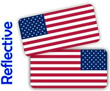 REFLECTIVE American Flag Hard Hat Stickers Flags Motorcycle Helmet Decals Labels