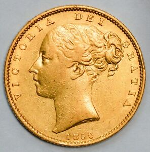 SOUGHT AFTER 1850 Queen Victoria Gold Shield Sovereign - Listed as RARE in Marsh