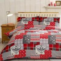 100% Brushed Cotton Flannelette Reversible Duvet Quilt Cover Bedding