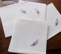 SERVIETTES DE TABLE BRODEES MAIN LAVANDE DE PROVENCE  LOT DE 6