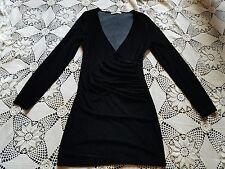 Thick black gothic widow stretch velvet deep V neck long sleeve mini dress M