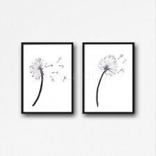 Black and White Dandelion Set Of 2 Watercolour Painting PRINT 8x10 Wall Art