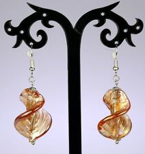 Twisted amber gold leaf AB lustre glass lampwork earrings, silver-plated hooks