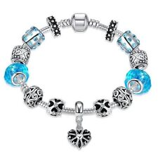 Lau-Fashion 925 Silber Bettel Armband Türkis Kette Charms Anhänger Zirkoni