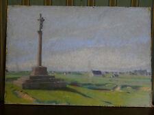 Ancienne Pastel  Georges Ritleng 1875-1972 Le Calvaire de Penmarch  en Bretagne