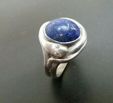 Classic sterling silver antique style snake ring with lapis and genuine diamonds