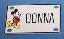 Vintage Walt Disney Prod. Mickey Mouse Donna Plastic Name License Plate