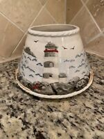 Yankee Candle Large Jar Topper Shade Lighthouse Beach Shore RARE