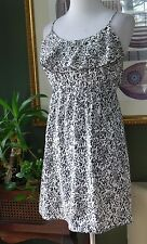 Soprano Gray/Black/White Print Featherweight Empire Dress S