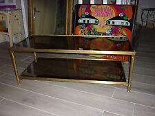 TABLE BASSE LAITON VERRE Fumé motif mercure JANSEN  ou BAGUES ANNÉE 60