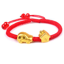 999 NEW Pure 24K Yellow Gold Bracelet Woman 3D Lucky Car & House Link Chain Gift