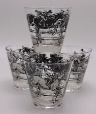 Set (4) BAILEY Family Horse Jumping Equestrian Black Whiskey Glass High Ball