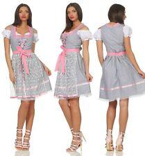 Dirndl Trachtenkleid Oktoberfest Gr 34  bis 46 grau Spitzenschürze Kleid Tracht