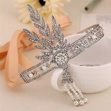 Wedding Silver Great Gstsby 1920s Flapper Headpiece Bridal Headband Pearl Crown