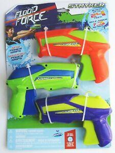Flood Force Water Gun Set of 3 STRYKER Pistol Squirt SwimWays NEW Small 2016