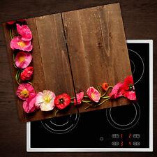 Herdabdeckplatten aus Glas Spritzschutz Rosa Mohn - 2x30x52 cm