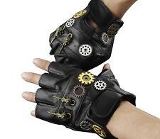 Steampunk Gothic Mens Vintage Genuine Leather Fingerless Gloves UK37