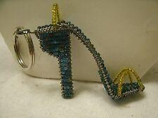 vintage Beaded High Heel Sandal Shoe Key Ring Key Chain 1980s handmade beads