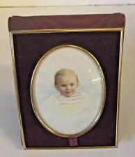Vintage Burgundy Leather Swede Fold Open Picture Frame Child's Portrait Color