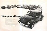 """1949-1972 VW Volkswagen Super Beetle photo """"Improves with Age"""" 2-page print ad"""