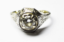 20k White Gold .50ct Diamond Solitaire Vintage Estate Filigree Ring 11mm Size 4