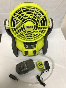 Ryobi PMF01CN ONE+ 18-Volt Hybrid Portable Bucket Top Misting Fan LN KIT
