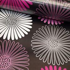 Arthouse Daisy Flower Black Pink Silver Metallic Floral Wallpaper 617004 Retro