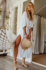 Gypsy Dress in White Linen with Rope Belt - Size XL