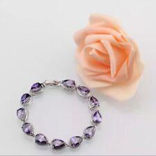 """925 Sterling Silver Amethyst  Waterdrop Tennis Gemstone Bracelet , Bangle. 7-8"""""""